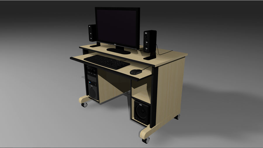 Computer Setup with Desk and Chair royalty-free 3d model - Preview no. 4