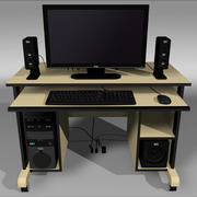 Computer Setup with Desk and Chair 3d model