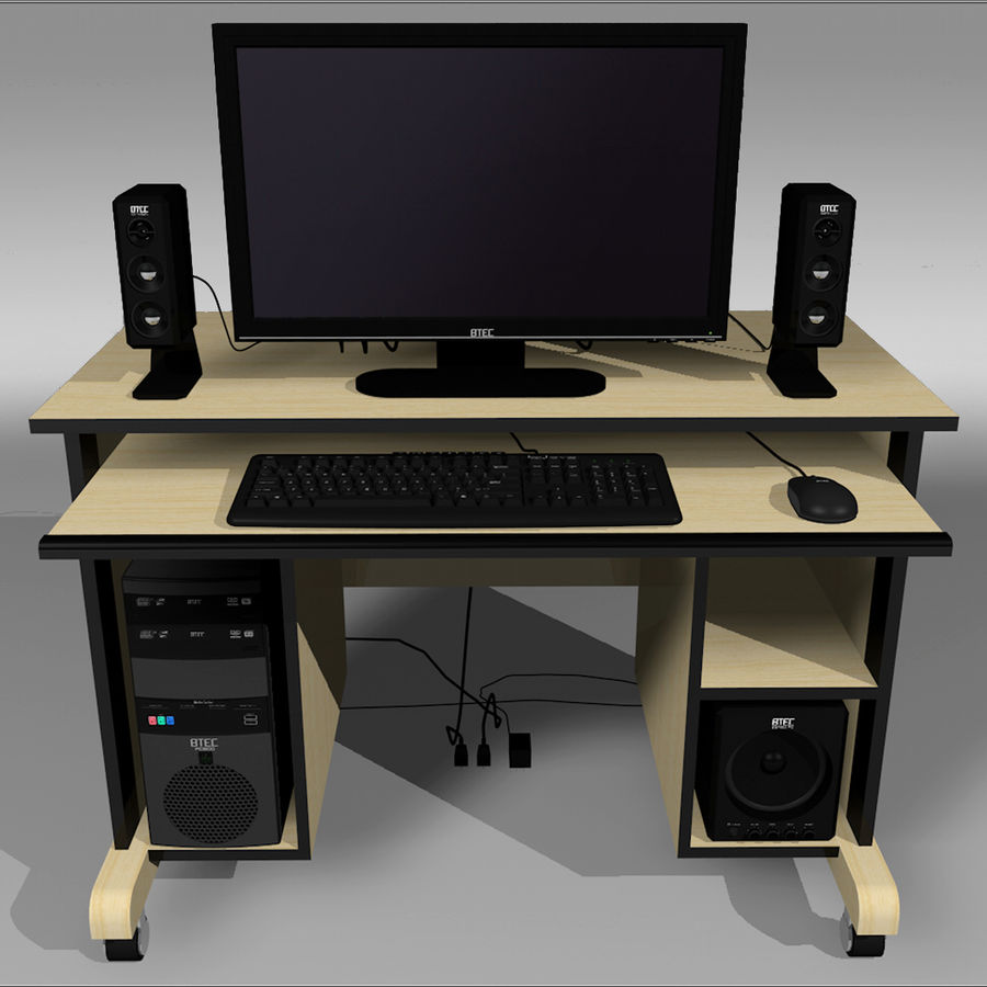 Computer Setup with Desk and Chair royalty-free 3d model - Preview no. 1