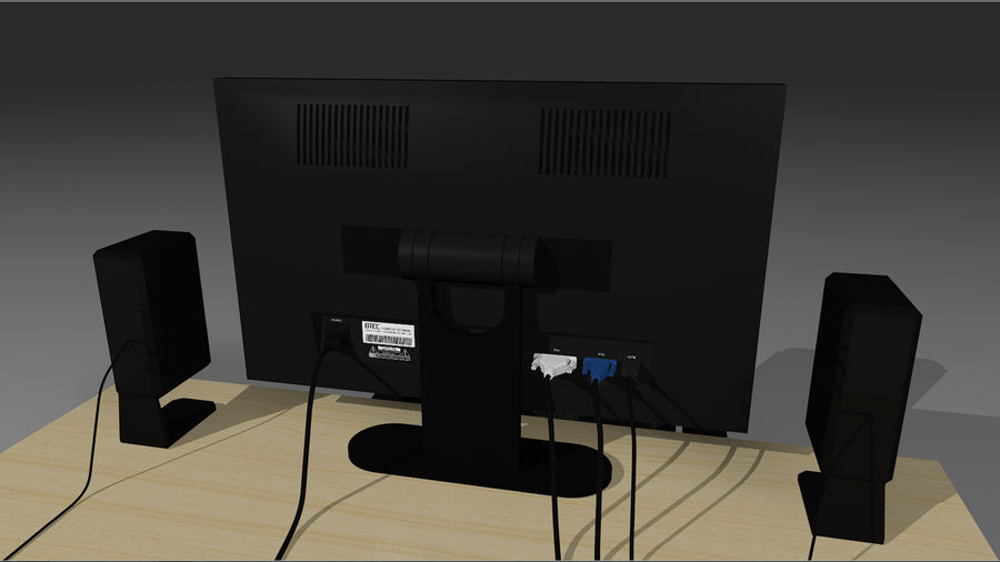 Computer Setup with Desk and Chair royalty-free 3d model - Preview no. 17