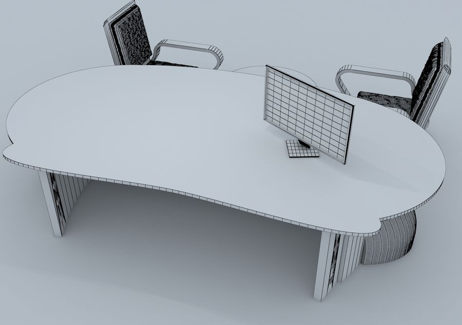 Chair, Office Table, Sofa, Office Furniture royalty-free 3d model - Preview no. 5
