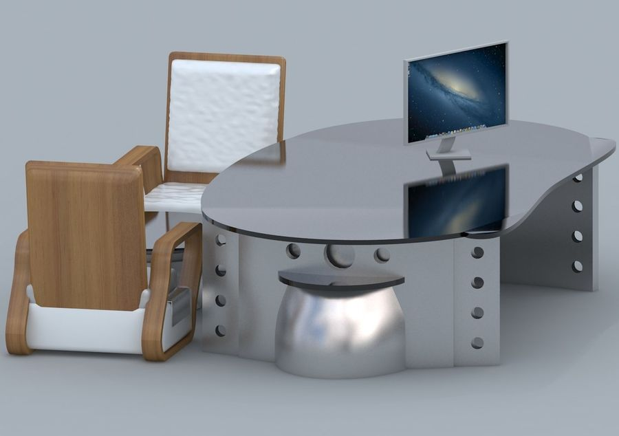 Chair, Office Table, Sofa, Office Furniture royalty-free 3d model - Preview no. 4