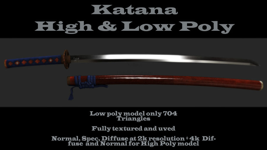 Katana royalty-free 3d model - Preview no. 1