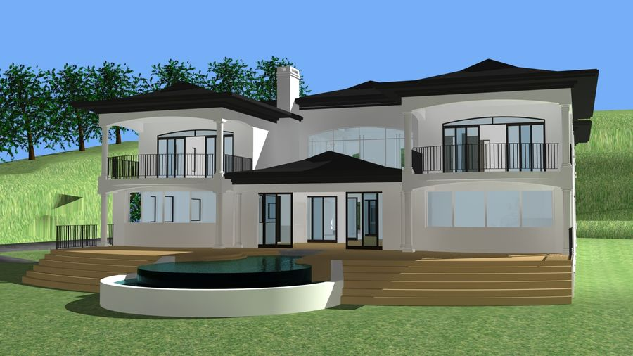 Architecture house 007 royalty-free 3d model - Preview no. 6