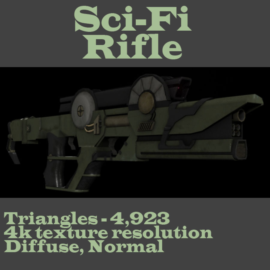 Sci-fi Concept Rifle royalty-free 3d model - Preview no. 1