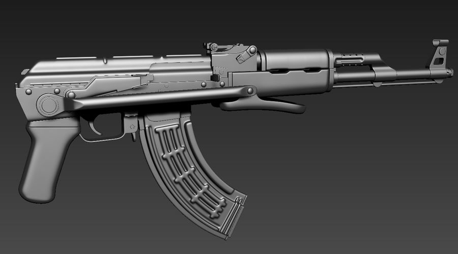 AKMS geweer royalty-free 3d model - Preview no. 1
