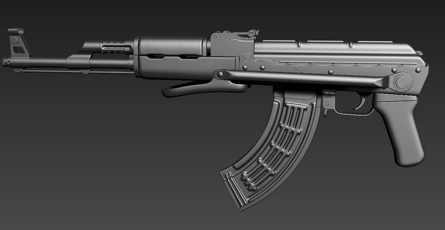 AKMS geweer royalty-free 3d model - Preview no. 2