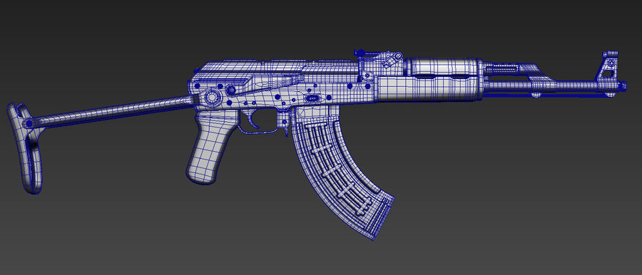 AKMS geweer royalty-free 3d model - Preview no. 5