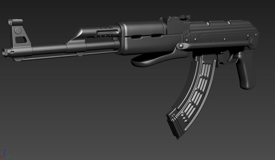 AKMS geweer royalty-free 3d model - Preview no. 3