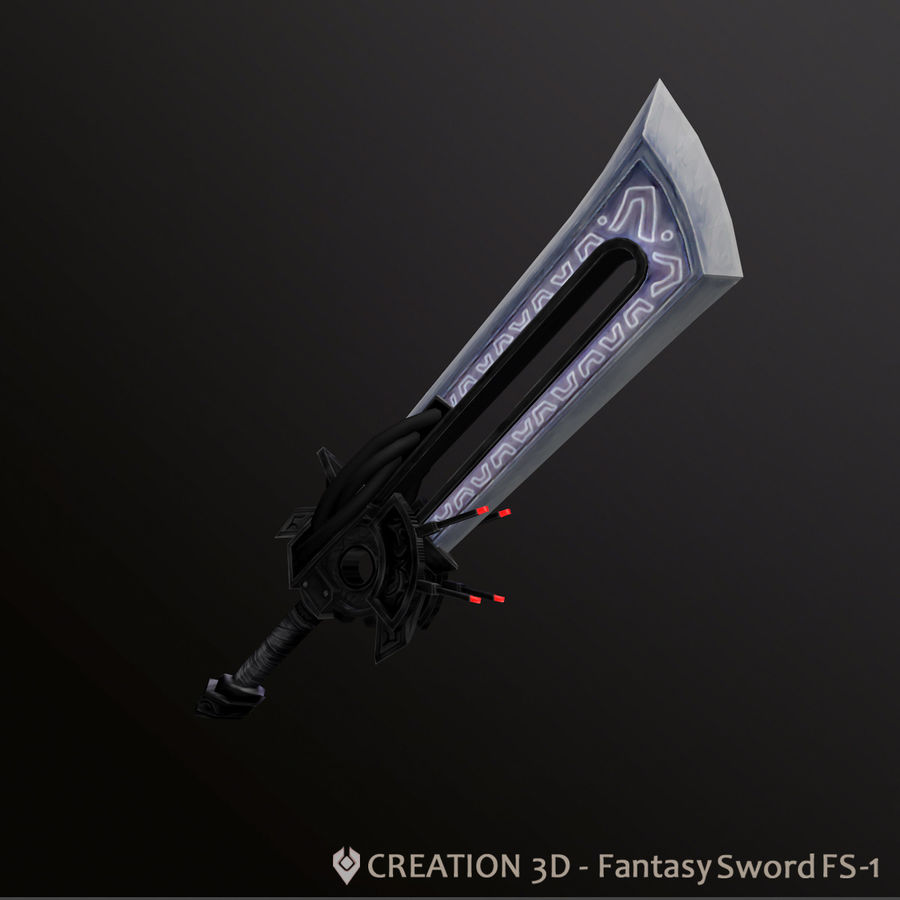 Fantasy Steampunk Sci fi Giant Sword royalty-free 3d model - Preview no. 3