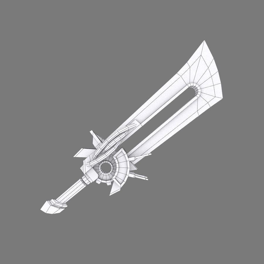 Fantasy Steampunk Sci fi Giant Sword royalty-free 3d model - Preview no. 6