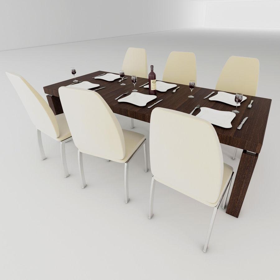 Mesa de comedor minimalista con sillas. Modelo 3D $14 - .obj .3ds ...