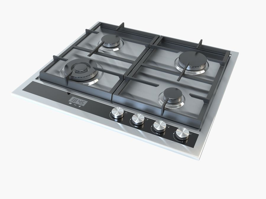 Gas cooktop royalty-free 3d model - Preview no. 2