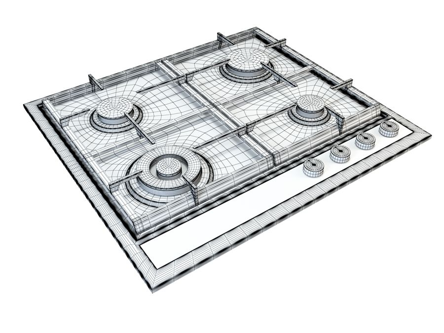 Gas cooktop royalty-free 3d model - Preview no. 7