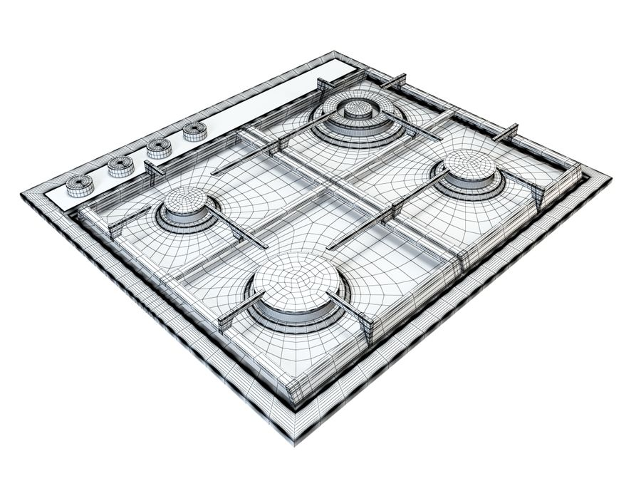 Gas cooktop royalty-free 3d model - Preview no. 6