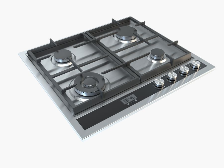 Gas cooktop royalty-free 3d model - Preview no. 1