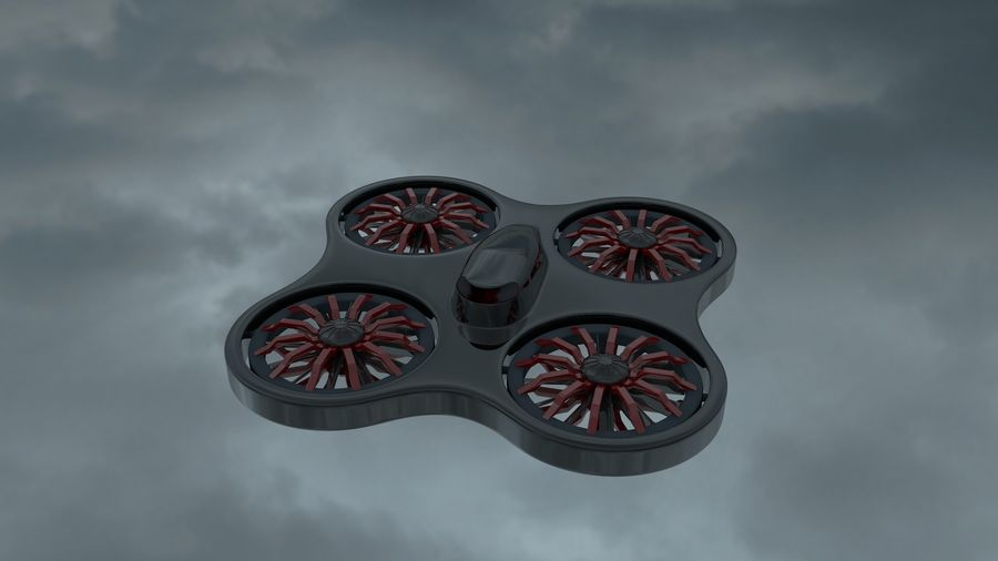 quadrimoteur drone royalty-free 3d model - Preview no. 1