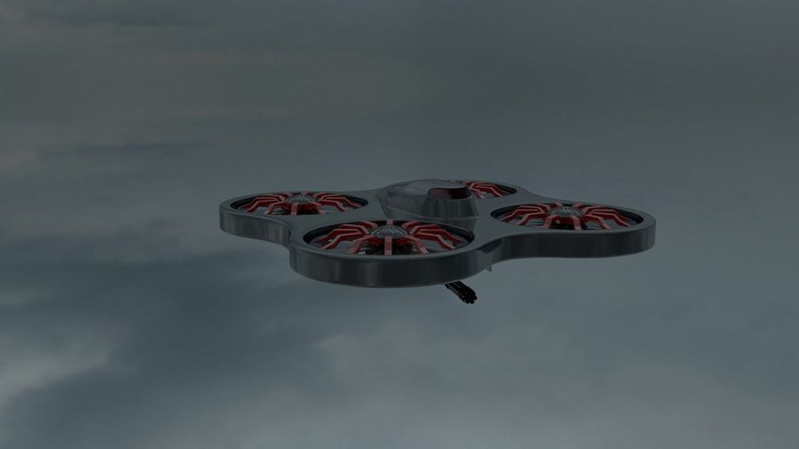 quadrimoteur drone royalty-free 3d model - Preview no. 4