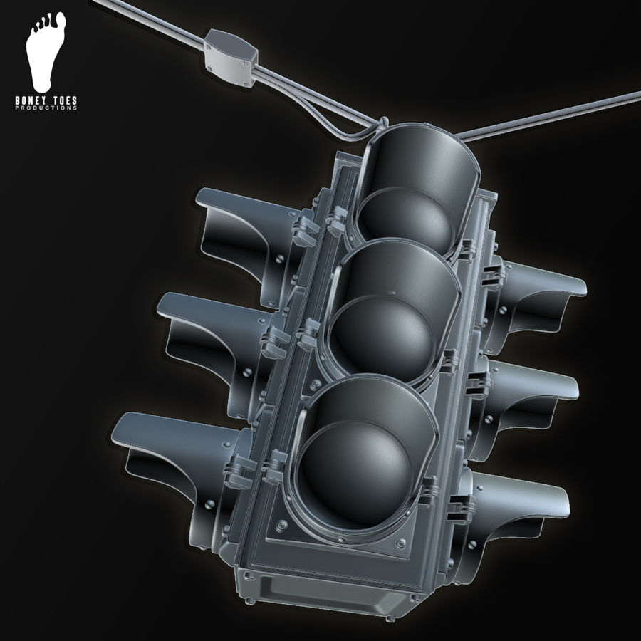 Four Way Traffic Signal royalty-free 3d model - Preview no. 2