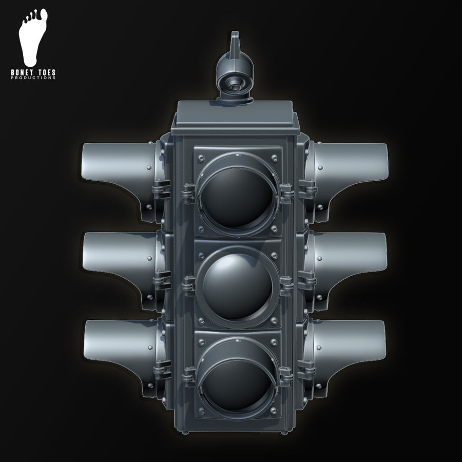 Four Way Traffic Signal royalty-free 3d model - Preview no. 3