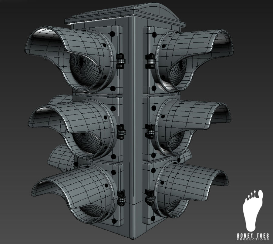 Four Way Traffic Signal royalty-free 3d model - Preview no. 5