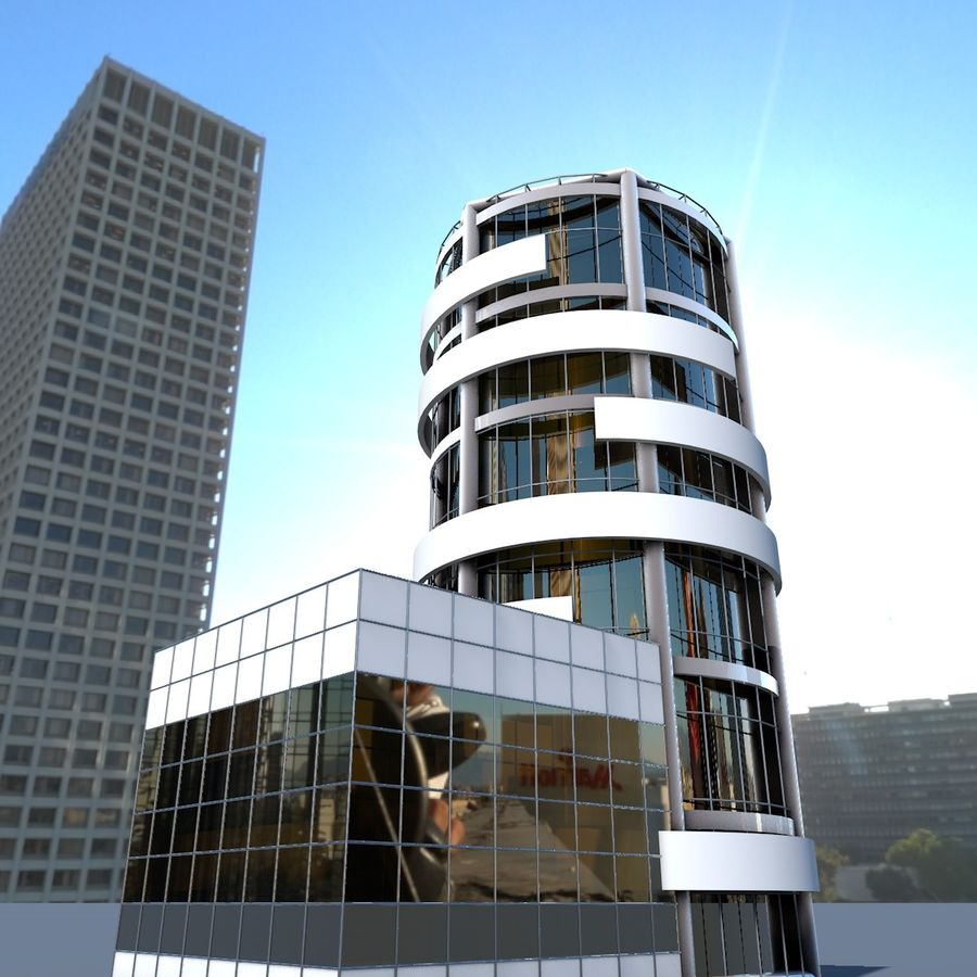 Round building flat skyscraper architecture royalty-free 3d model - Preview no. 3