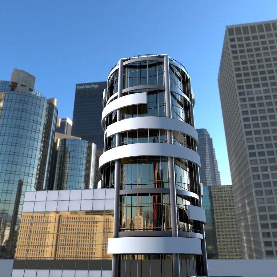Round building flat skyscraper architecture royalty-free 3d model - Preview no. 2