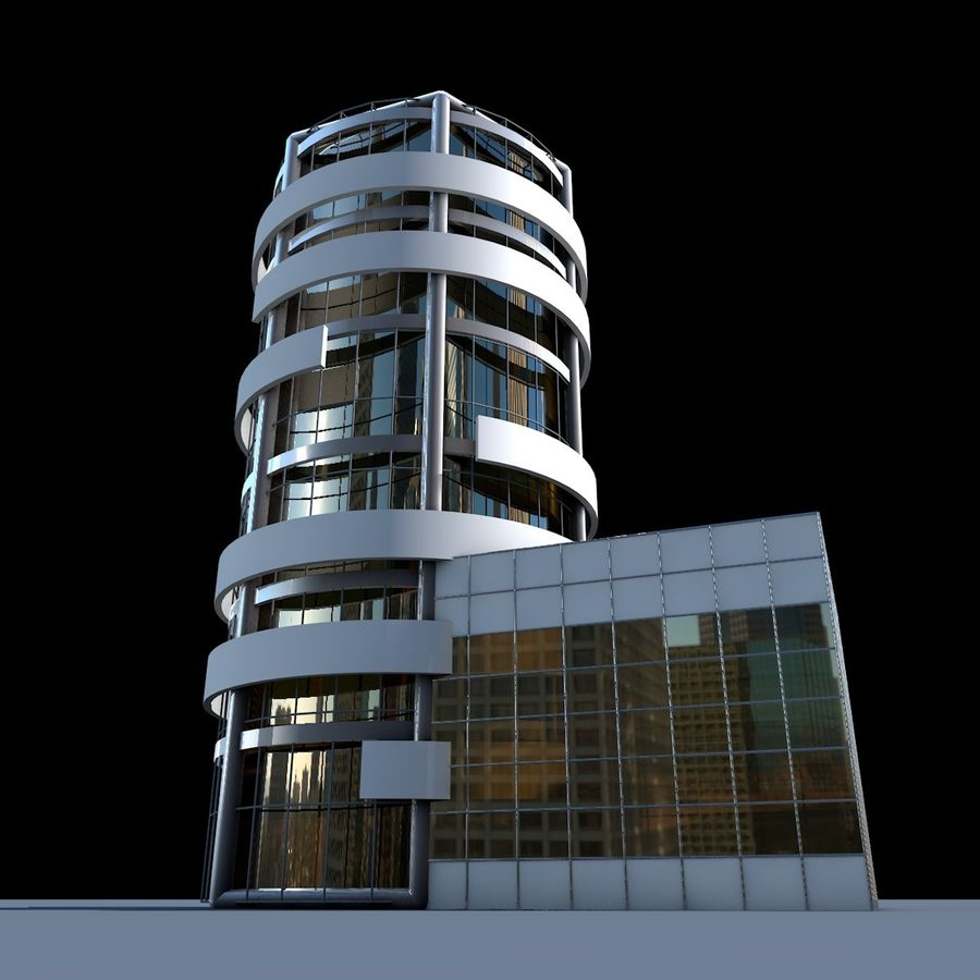 Round building flat skyscraper architecture royalty-free 3d model - Preview no. 6