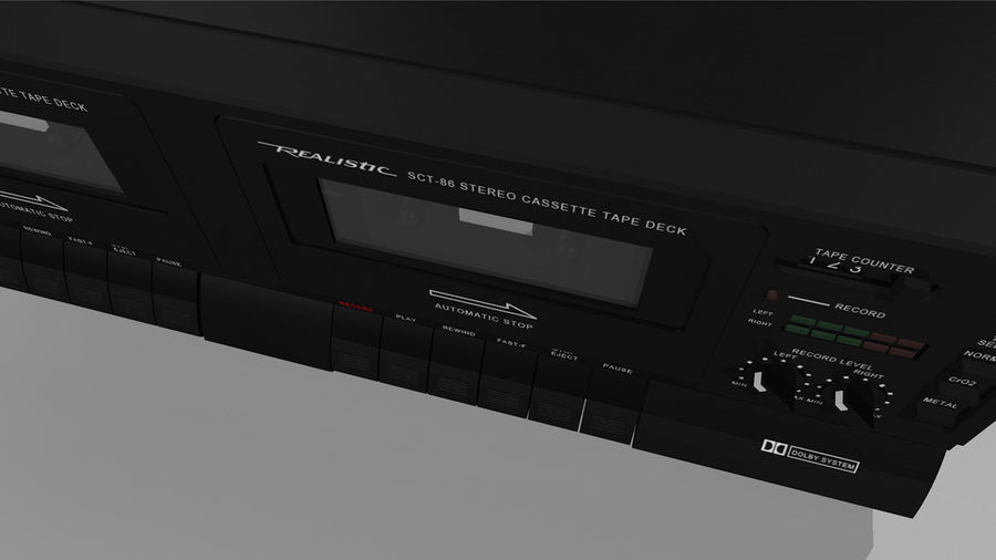 Dual Cassette Player / Recorder royalty-free 3d model - Preview no. 15