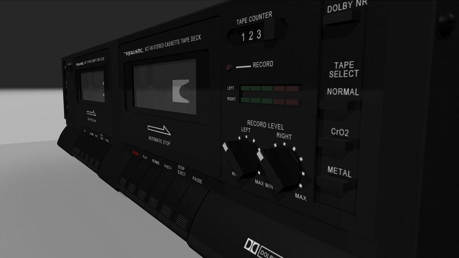 Dual Cassette Player / Recorder royalty-free 3d model - Preview no. 17