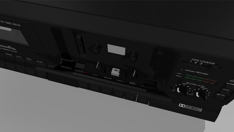Dual Cassette Player / Recorder royalty-free 3d model - Preview no. 16