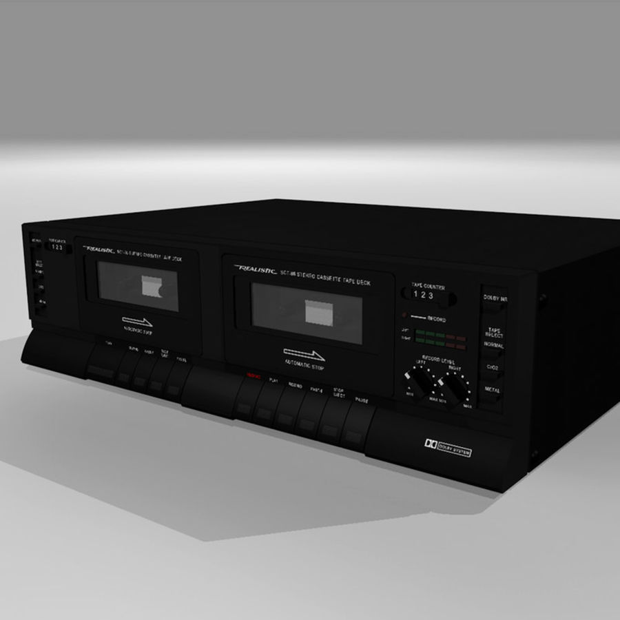 Dual Cassette Player / Recorder royalty-free 3d model - Preview no. 1