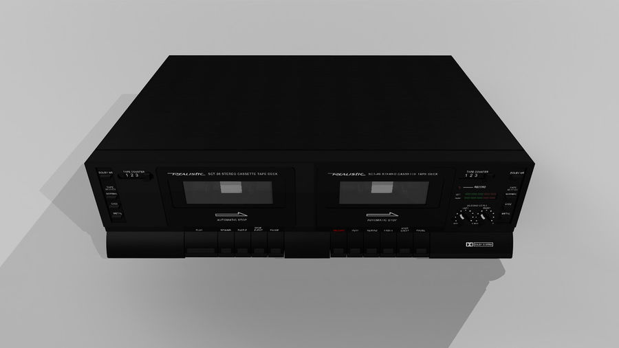 Dual Cassette Player / Recorder royalty-free 3d model - Preview no. 4