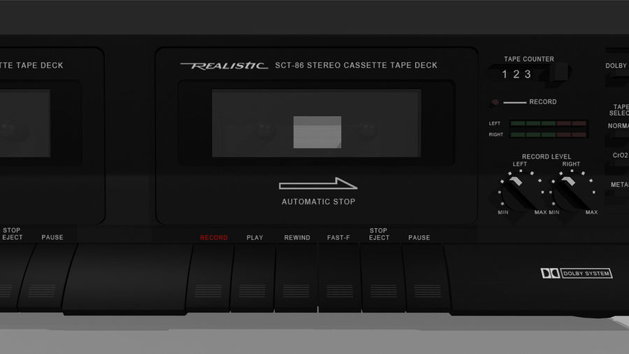 Dual Cassette Player / Recorder royalty-free 3d model - Preview no. 8