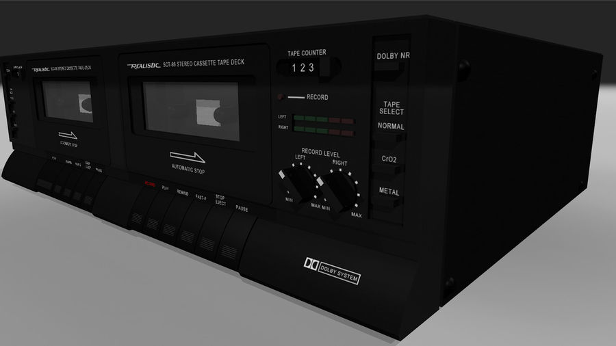Dual Cassette Player / Recorder royalty-free 3d model - Preview no. 3