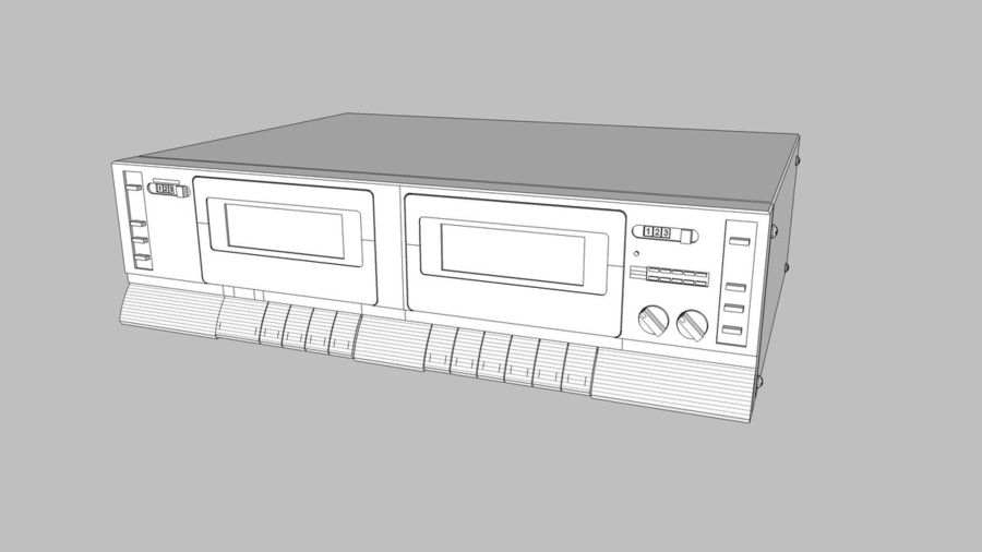 Dual Cassette Player / Recorder royalty-free 3d model - Preview no. 19