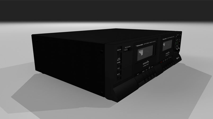 Dual Cassette Player / Recorder royalty-free 3d model - Preview no. 5