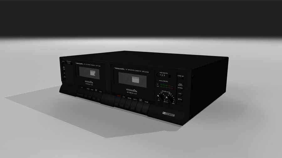 Dual Cassette Player / Recorder royalty-free 3d model - Preview no. 2