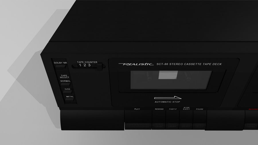 Dual Cassette Player / Recorder royalty-free 3d model - Preview no. 6