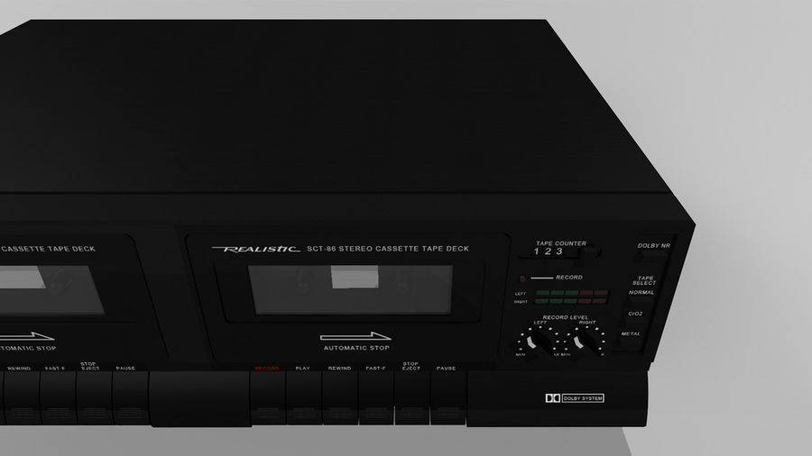 Dual Cassette Player / Recorder royalty-free 3d model - Preview no. 7
