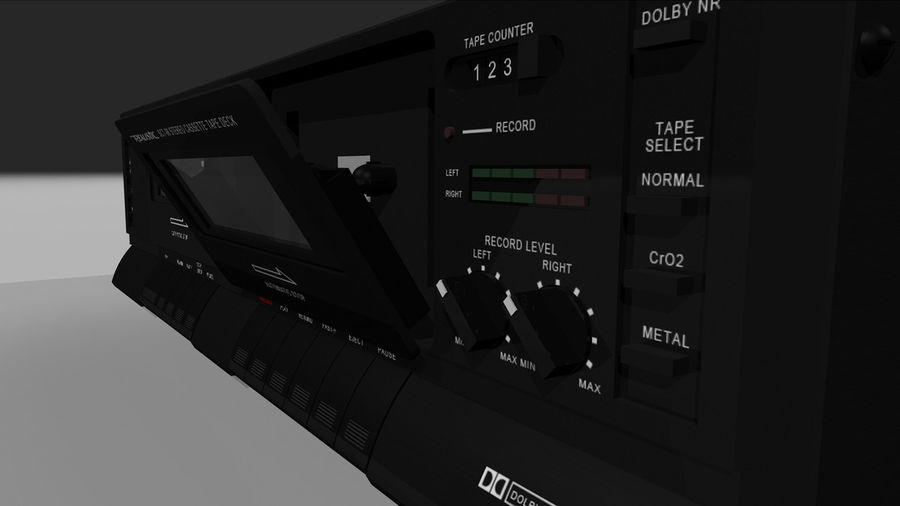Dual Cassette Player / Recorder royalty-free 3d model - Preview no. 18