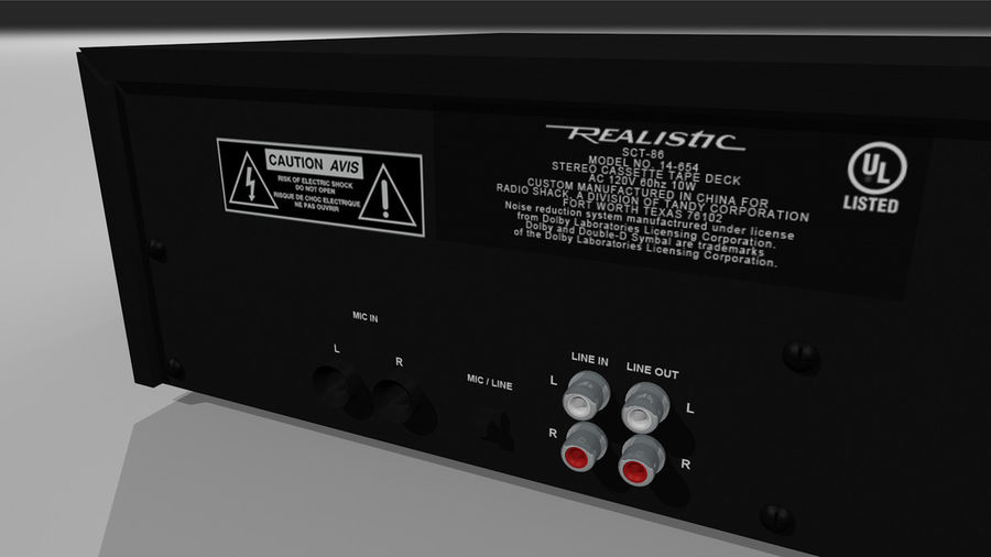 Dual Cassette Player / Recorder royalty-free 3d model - Preview no. 12