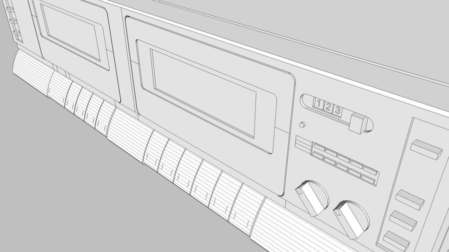 Dual Cassette Player / Recorder royalty-free 3d model - Preview no. 27
