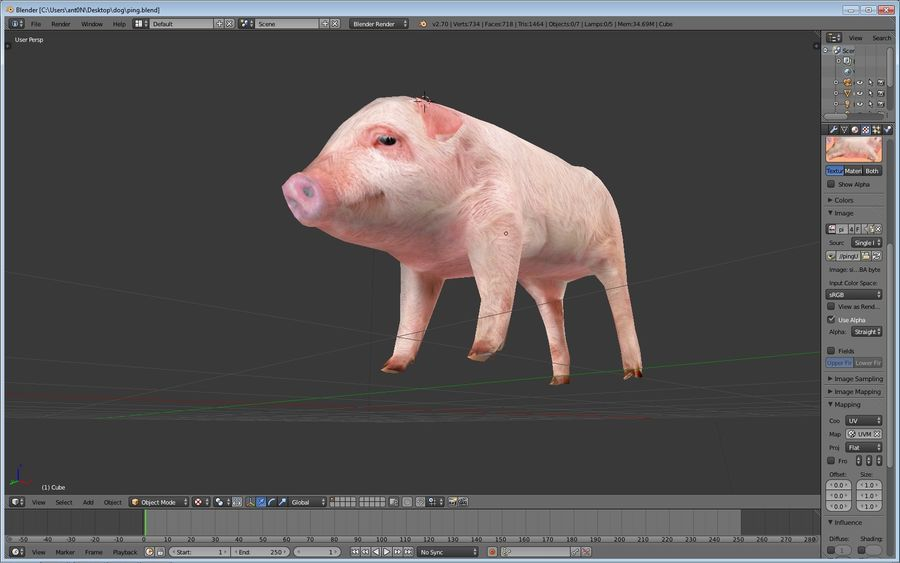 Pig royalty-free 3d model - Preview no. 2