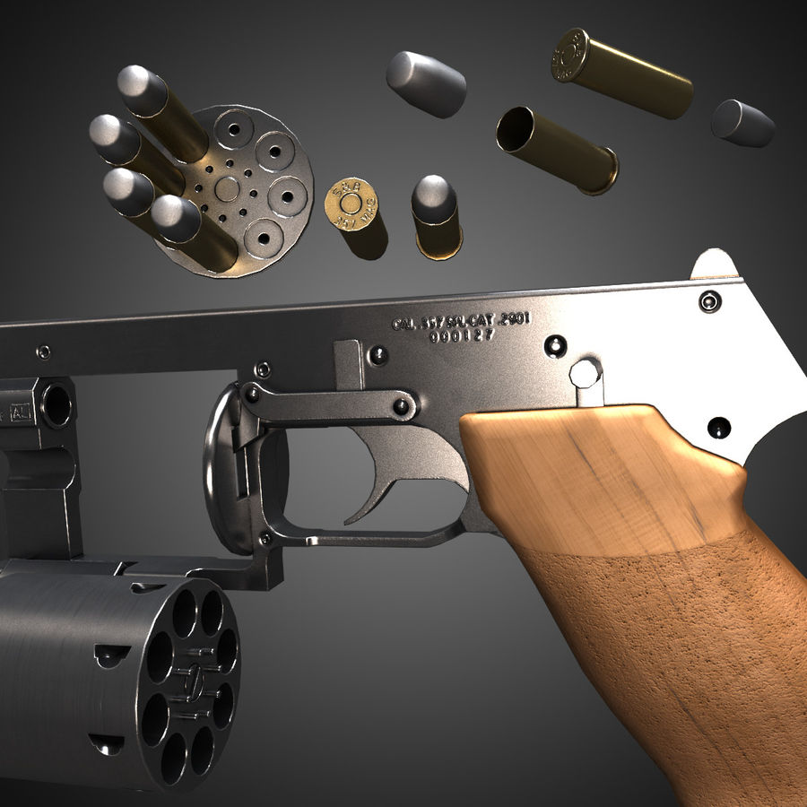 Revolver Mateba MTR-8 royalty-free 3d model - Preview no. 6