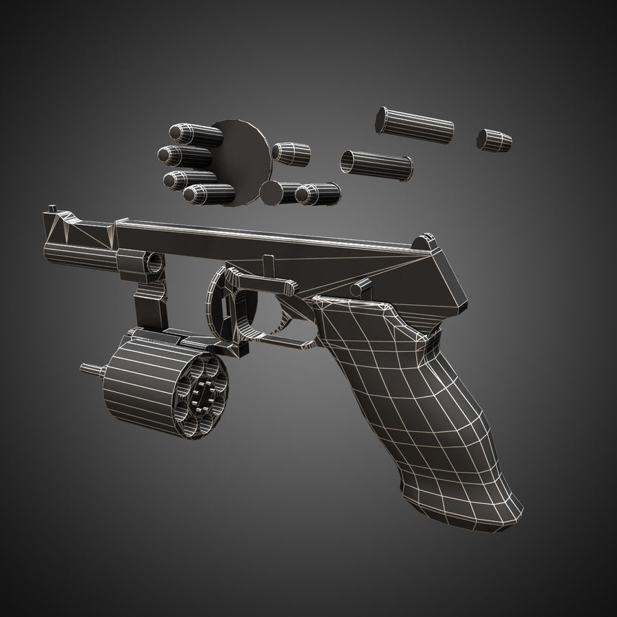 Revolver Mateba MTR-8 royalty-free 3d model - Preview no. 9