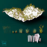grass low poly 3d model