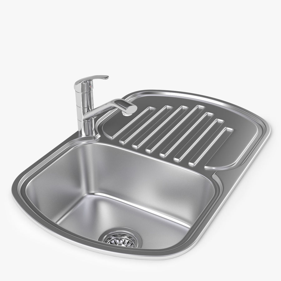 Jasper small kitchen metal sink with faucet royalty free 3d model preview no