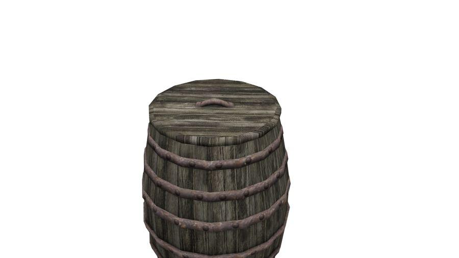 Big wooden barrel royalty-free 3d model - Preview no. 2