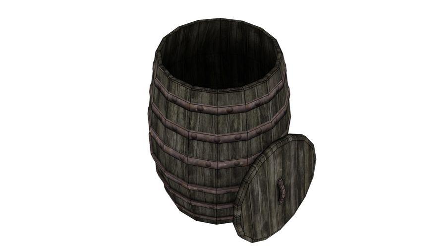 Big wooden barrel royalty-free 3d model - Preview no. 4